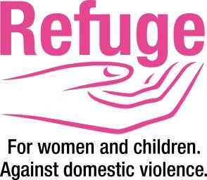 refuge logo - pink outline of a supporting hand. caption reads: for women and children. against domestic violence.