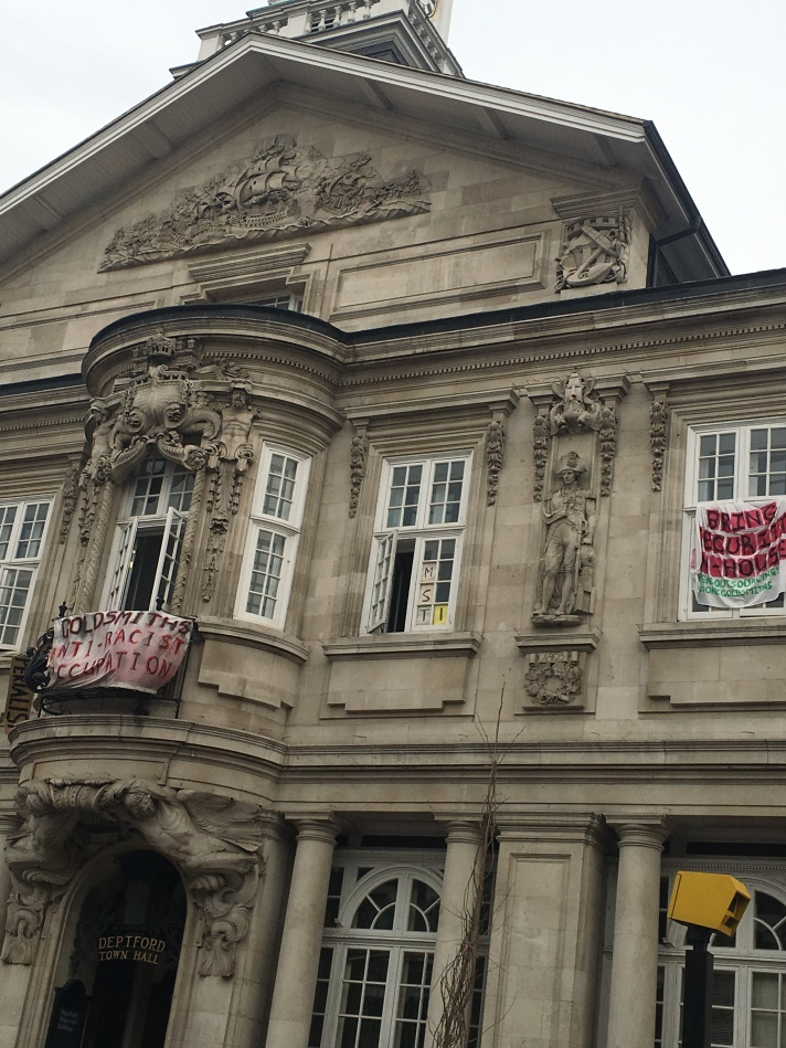 Goldsmiths Anti-Racist Occupation banners on front of Deptford Town Hall